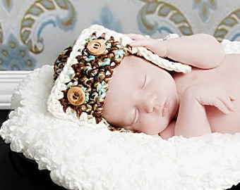 PILOT Aviator Hat Newborn Baby Photo prop in Brown Blue Cream Photography all Babies Handmade by MaryYarns