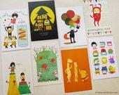 Set of 5 Minifanfan Illustration Postcard Set - Pick any 5 designs - Postcard Collection - Vertical Postcards