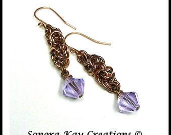 Ready To Ship  Byzantine Chainmaille Earrings in Copper with  Lavender Swarovski Crystal Accents