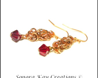 Ready To Ship  Byzantine Chainmaille Earrings in Copper with Siam Red color  Swarovski Crystal Accents