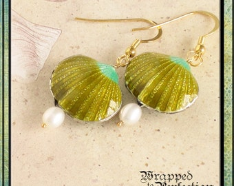 Shell Earrings / Lime Green / Cloisonné Shells & Freshwater Pearls / Summer Resort Beach Wedding / ON SALE!