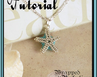 Starfish Pendant Tutorial / Beaded Bead / Seed Bead Starfish / Sea Star / Beach Jewelry /PDF Tutorial in ENGLISH / Beadweaving