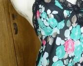 Vintage Maxi Gown, Diane Von Furstenberg, 1970's Maxi Gown,  DVF Lingerie , Designer Nightgown, Maxi Dress,Flower Gown,Nylon Nightgown