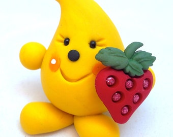 Parker with Strawberry - Polymer Clay Figurine - Whimsical Character