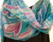 Custom name art: artists scarf. Cyan blue pink turquoise hand painted silk scarf with a name and pink heart! Cyan, pink, pearl white chiffon