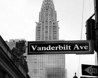 Black and White Chyrsler Print, Vanderbilt Ave, New York Photography, Vertical Image