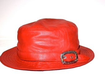 GIANNI VERSACE Vintage Red Leather Hat Butter Soft - AUTHENTIC -