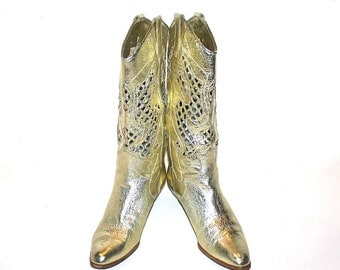 GOLD Genuine Leather COWBOY BOOTS Vintage Cutout Western Size 8