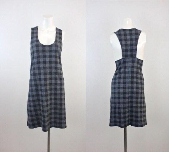 Vintage Gray Check Romper Dress Sz M/L
