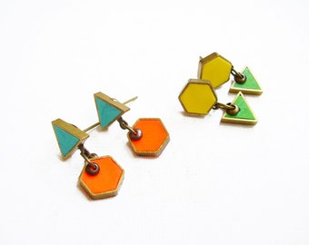 Geometric Dangle  Earrings, Dainty Triangle Hexagon Post Earrings, Minimal Post Earrings