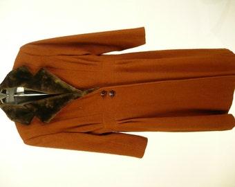 Vintage Edwardian Girls Coat, Cap, Edwardian Costume, Reproduction, Circa 1914 Design, Christmas Caroler, Rust, Wool, Faux Fur Collar, B34