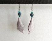 Pastel Blue Elegant Triangles Origami Earrings w/ Lapis Lazuli