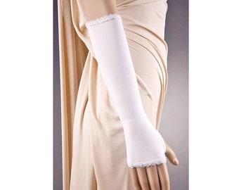 2 COLORS LONG Wedding Fingerless Gloves,Long Wedding Gloves,Fingerless Wedding Gloves,White Wedding Gloves,Ivory Wedding Gloves, Long Gloves