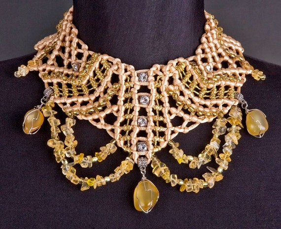 UNIQUE Macrame NECKLACE Silver and Gold Queen Style