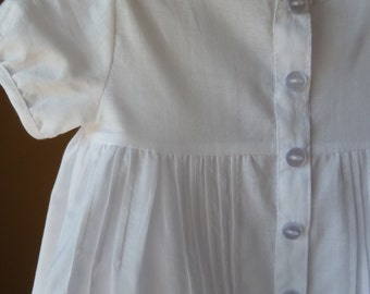 Christening Dress . White Cotton Baby Dress . Vintage Style Dress for Baby Girl . Buttons and Tucks Infant Dress . Newborn Dress