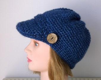 Olympic Blue Newsboy Hat,Womens Urban Visor Cap,Ready to Ship