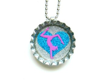 Bottle Cap Necklace - Gymnastics Glitter