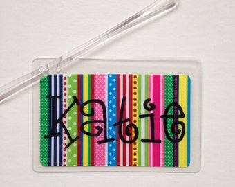 Personalized Luggage Tag Laminated Bag Tag Diaper Bag Tag Personalized Lunch Box Tag Personalized Casserole Carrier Tag Kids Backpack Tag