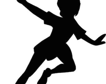 Peter Pan flying Silhouette 12.25x15 Vinyl Decal Wall Art Custom