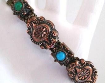 Vintage Slide Bracelet Gold Tone Mesh with 5 Copper Slides