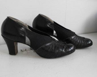 Vintage 30s 40s Shoes Heels Dark Blue 1930s 1940s 9