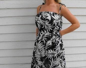 Black White Floral Print Summer Dress Sun Sheer Hawaii Vintage S