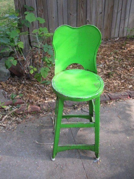 Lime Green Industrial Stool by VintageMementos on Etsy