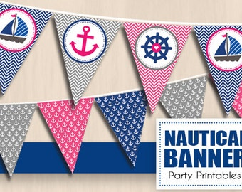 NAUTICAL Party Banner in Navy Blue and Pink- Instant Printable PDF Download
