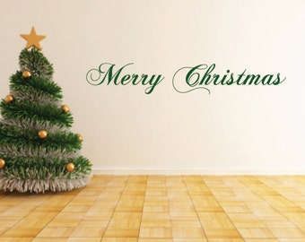 Merry Christmas OR Season's Greetings OR Happy Holidays Vinyl Wall Decals - Christmas Vinyl Decals - Winter- Holiday Decals