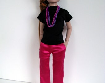 OOAK Black dolman top, hot pink matte satin pants with pockets & necklace for 16 inch fashion dolls
