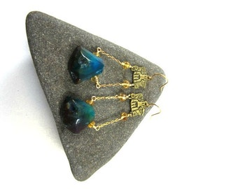 Blue Agate Stone ~ Aztec Inspired Statement Earring