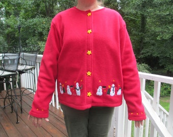 Tacky chrismtas sweater, christmas sweater, red sweaters, tacky christmas, holiday sweater, snowmen sweater