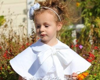 Flower Girl Cape. White Linen Cape for Girls.