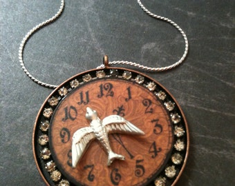 Silver Bird Over Wood Clock Steampunk Necklace