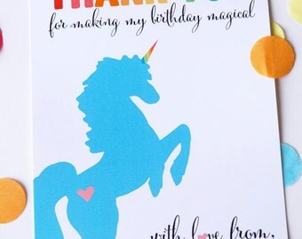 Rainbow Unicorn Party Collection - Thank You Card