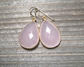 Natural Rose Quartz Earrings, Bezel Set Pear Shape Gemstone, 24K Gold Vermeil, Large Pink Dangle Earrings