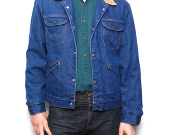 vintage men's fall DENIM JACKET contrast collar THERMAL lining size large men's fall coat