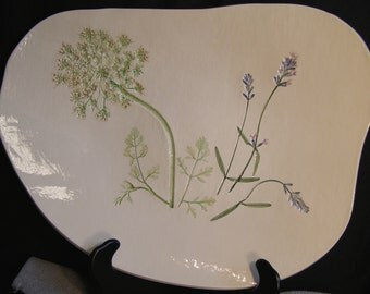 Pressed Plant Pottery Bowl, Free Form, Queen Anns Lace, Lavender