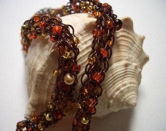 Copper necklace, made in Canada, copper thread, topaz, Amber, glass beads, hypoallergenic, copper clasp, Nova Scotia, brown, orange, gold