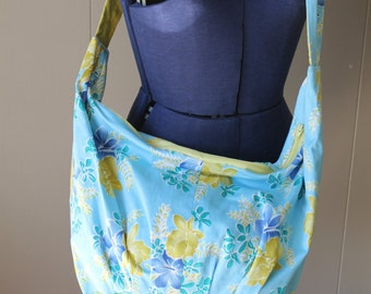 Zen body Wrap Bag tropical blue floral cross body purse yoga bag Hawaiian print bag linen lining bag