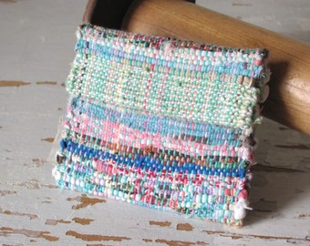 Boho Chic Wallet Hand Bag, Small Coin Change Pouch Lunch Money Key ID Purse, Tea Purse Hand Woven Recycled Turquoise Blue & Pink Rag Handbag
