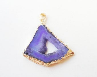 Orchid Purple Druzy - Flat Slice Pendant - Electroplated Gold - Double Sided - Triangle Shaped Teardrop - Druzy Hollow Center - DIY Jewelry