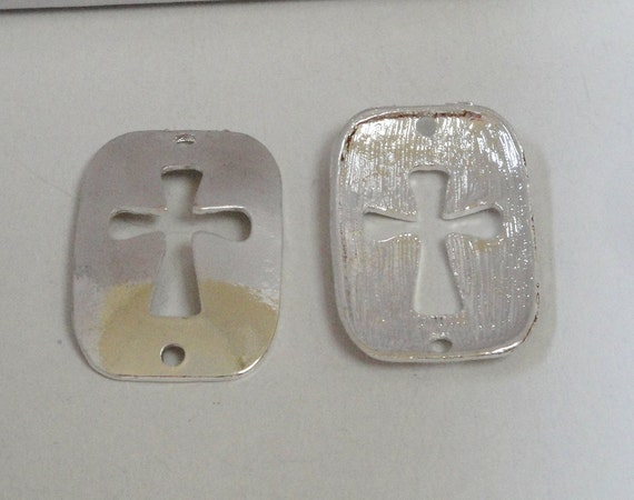 Silver Dogtag Sideways Cut Out Crosses Charm Connector For Trending Bracelets Two Holed 1 Cross
