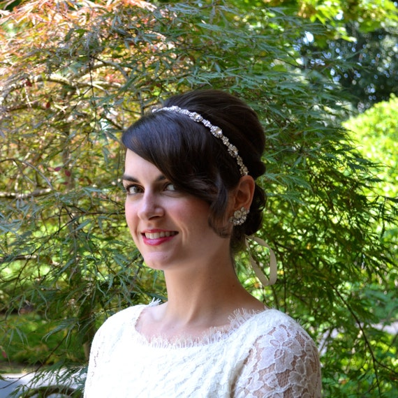 Rhinestone Flower Bridal Headband, Sparkly Wedding Hairband, Belt Sash by Jill's Boutique on Etsy