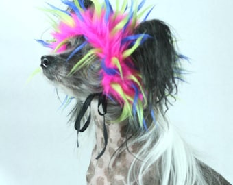 Pink, Lime and Blue Faux Fur Dog Costume Wig Hat