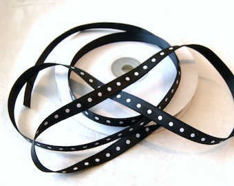"3/8"" Black with White Dots Grosgrain Ribbon Trim 4 yard  (R 22)"