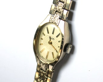Ladies watch Luch, womens wrist watch from Belarus Soviet Union, Gold watch Luch, Vintage gold wrist watch