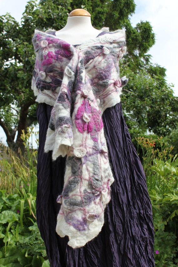 White purple pink grey  wrap shawl - Nuno & shibori felted wool - unique lagenlook style - Art to Wear OOAK