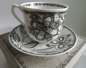 Eliza -tea cup and saucer-hand painted original design ceramics-with hand made gift box- Ooak