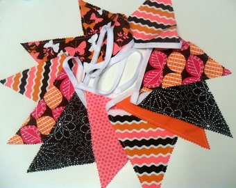 Fabric Bunting Party Banner Hot Pink Orange and Brown Photo Prop Flag Banner